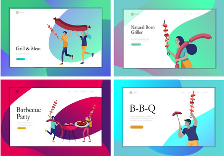 Landing page template people preparing barbecue. BBQ party. People grilling meat. Conceptual Modern and Trendy colorful vector illustration. Web template. Ilustração