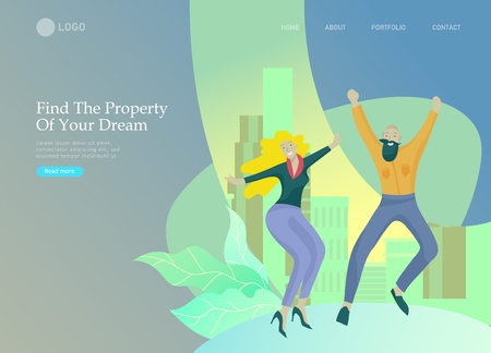 Real Estate Landing Page template. Investment in Property, happy people buying or renting Apartments, house. Online Booking, rent discounts, succes deal. Vector illustration with cartoon people Ilustração