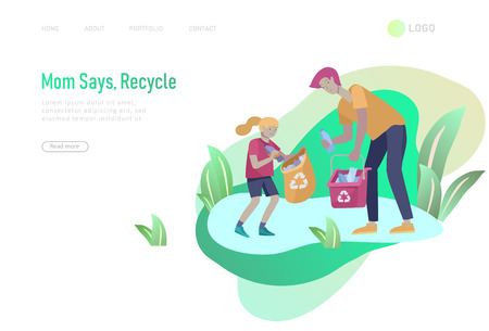Landing page template with people Recycle Sort Garbage in different container for Separation to Reduce Environment Pollution. Family with kids collect garbage. Earth Day vector cartoon illustration Ilustração