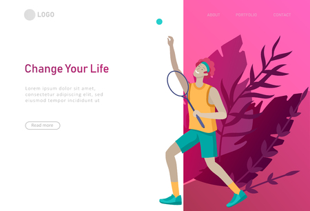 Landing page template with man doing tennis workout. People performing sports outdoor activities at park or Nature. Cartoon illustration Illustration