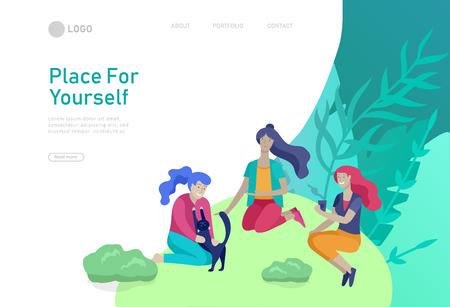 Landing page template with People Spending Time, Relaxing on Nature concept. Womans friends have picnic, talking, drink coffee and play with cat. Cartoon style vector illustration