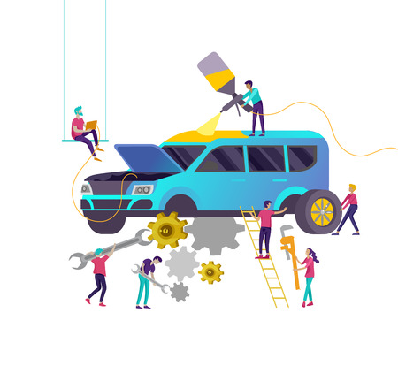 Car service having their repaired, cartoon people characters paint car, change wheels, automobile repair shop, vehicle service concept. Vector flat style illustration  イラスト・ベクター素材