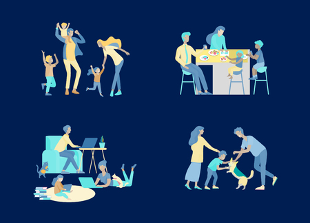 Collection of family hobby and activities. Mother, father and children have dinner, walking dog, dansing and jumping, relaxing at home with gadgets together. Cartoon vector illustration