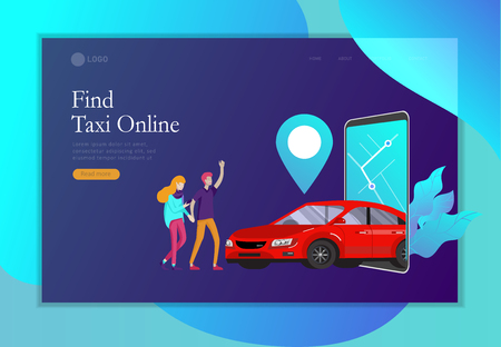 Landing page template mobile city transportation, online car sharing with cartoon family people character and smartphone, online carsharing. Vector flat style illustration