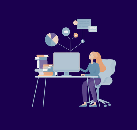 office concept business people for project management, business, workflow and consulting. Illustration