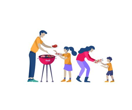 Collection of family hobby activities. Mother, father and children preparing barbecue together. Cartoon vector illustration Ilustração