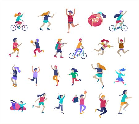 Illustration of children playing and doing activities, happy kids with gadgets, running, jumping and with bags and gift, ride a bike, swim, play ball Çizim