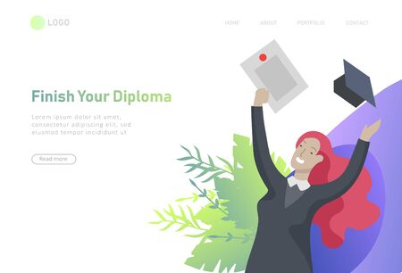 Set of web page design templates with smiling graduates people in graduation gowns holding diplomas and happy Jumping. Ilustración de vector