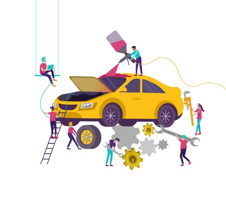 Car service having their repaired, cartoon people characters paint car, change wheels, automobile repair shop, vehicle service concept.