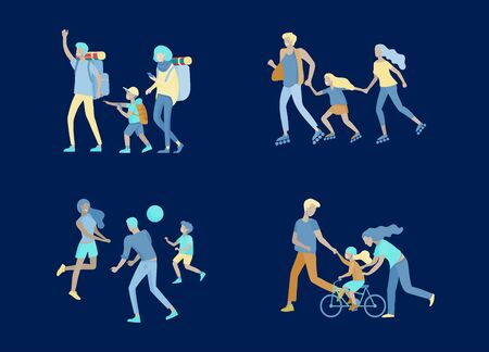 Collection of family hobby activities. Mother, father and children teach daughter to ride bike, walking hiking and traveling, roller skating, play ball together.
