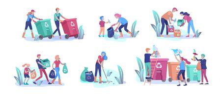 Menschen und Kinder recyceln Sortieren Sie organischen Müll in verschiedenen Behältern zur Trennung, um die Umweltverschmutzung zu reduzieren. Familie mit Kindern sammelt Müll. Umwelttag Vektor-Cartoon-Illustration Vektorgrafik