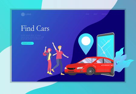 Landing page template mobile city transportation, online car sharing with cartoon family people character and smartphone, online car sharing. Vector flat style illustration