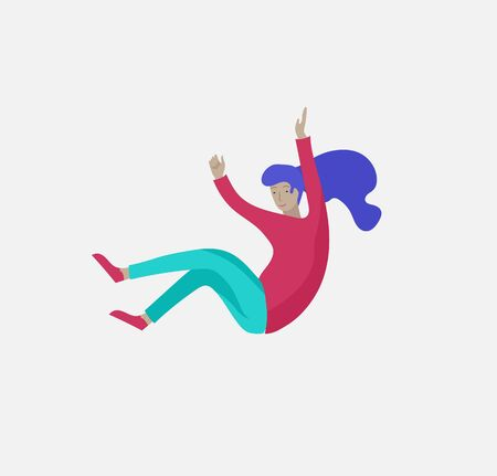 Inspired woman flying in space. Character moving and floating in dreams, imagination and inspiration. Flat design style, vector illustration.  イラスト・ベクター素材