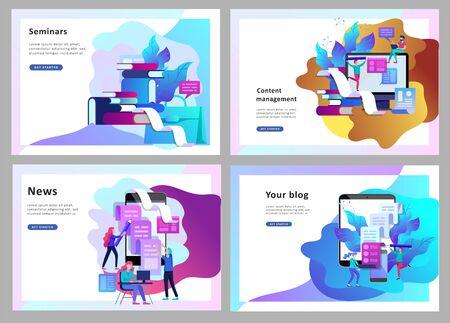 Illustration vectorielle de concept d'entreprise Blogging, personnes et technologie de l'éducation.