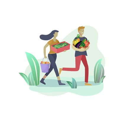 Harvesting and gardening people man and woman doing farming and garden job, pick berries, remove weeds, watering, planting, lay ripe vegetables to box. Reaping crop concept