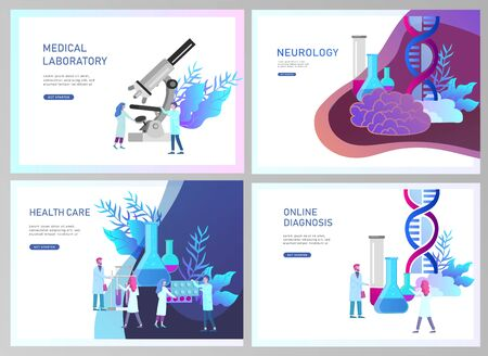 Web page design templates collection of online medical diagnosis and treatment, medical donation, laboratory and heart health, neurology. Modern illustration concepts for website