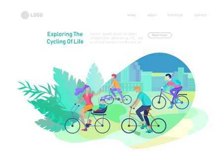 Landing page template with family riding bicycles, woman waving his hand, mother riding bicycles with child. People cycling outdoor activities concept at park, healthy life style. Cartoon illustration 版權商用圖片 - 128042455