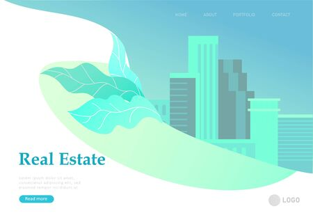 Real Estate Landing Page template. Investment in Property, happy people buying or renting Apartments, house. Online Booking, rent discounts, succes deal. Vector illustration with cartoon people Illustration