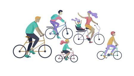 Young woman and man ride the bike, family and friends riding bicycles. Mom, dad and children on bike and cycling together. Sports outdoor activity. Cartoon vector illustration Illustration