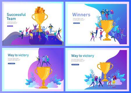 Conjunto de plantillas de página de destino. El éxito del equipo de negocios tiene la Copa de oro ganador, el concepto de personas están felices con la victoria. Trabajadores de oficina celebrando con gran trofeo, objetivos de formas Ilustración de vector