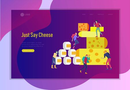 Landing page template with little jumping happy people and Cheese Packaging. Different types of cheese. Organic Milk Food Making Concept. Dairy Production. Flat Cartoon Vector Illustration