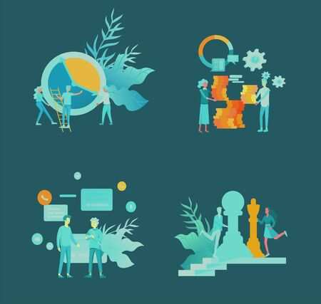 Business and Management Icons with people. Office concept, management and administration. Stock Illustratie
