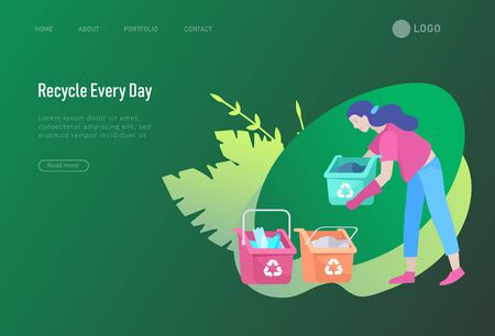 Landing page template with people Recycle Sort Garbage in different container for Separation to Reduce Environment Pollution.