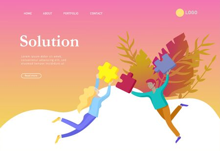 Landing page templates. Vector character business people with infographic of puzzle have solution. Goal thinking. Cooperation by group to create a team. Concept for web design Colorful flat concept illustration. Vector Illustration