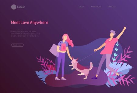 landing page template with Happy Lover Relationship, online dating scenes with romantic couple kissing, hugging, walking. Characters Valentine day Set. Colorful vector illustration Illustration