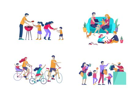 Collection of family hobby activities. Mother, father and children riding bikes, preparing barbecue, shopping, relaxing at home together, cycling. Cartoon vector illustration