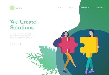 Landingpage-Vorlagen. Vektorcharakter-Geschäftsleute mit Infografik des Puzzles haben Lösung. Zieldenken. Zusammenarbeit in der Gruppe, um ein Team zu bilden. Konzept für Webdesign Bunte flache Konzeptillustration. Vektorgrafik