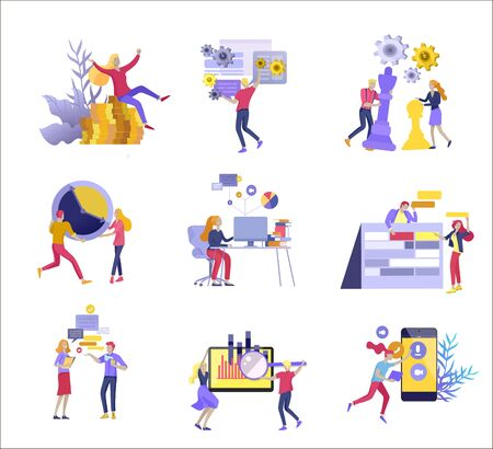 office concept business people for project management, business, workflow and consulting. Modern vector illustration flat concepts character for website and mobile website development. 向量圖像