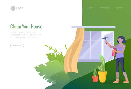 landing page template people home cleaning, washing and cleaning window, wipe dust, water flower. Vector illustration cartoon style Illustration