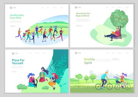 Landing page template with People Spending Time, Relaxing on Nature concept, man reading book, family rides a bicycle, people group running, woman with cat have picnic. Cartoon illustration