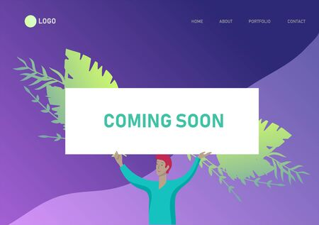 Landing page template people man and woman with banners, business app, coming soon, we are open, start up and solution. Vector illustration concept website mobile development