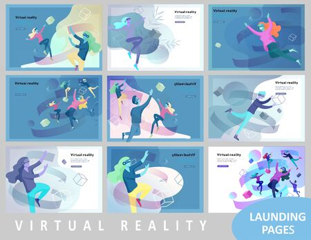 Landing page template set. Man and woman wearing virtual reality headset and looking at abstract sphere. Colorful vr world. Virtual augmented reality glasses concept with people learning and entertaining Иллюстрация