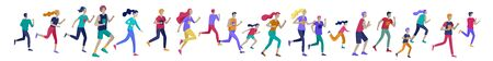 People Marathon Running Sport race sprint, concept illustration running men and women wearing sportswear in landscape. Jogging at Training. Healthy Active Speed Exercise. Cartoon Vector Illustration