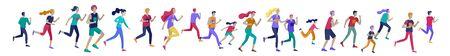 People Marathon Running Sport race sprint, concept illustration running men and women wearing sportswear in landscape. Jogging at Training. Healthy Active Speed Exercise. Cartoon Vector Illustration