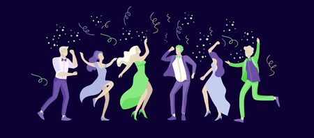 Group of smiling young people or students in evening dresses and tuxedos, happy Jumping and dansing. Prom party, prom night invitation, promenade school dance concept. Vector illustration concept