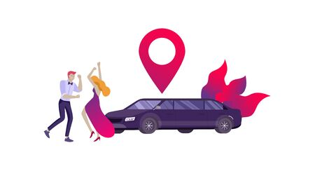 Mobile city transportation, online limousine sharing with woman in elegant evening dress and man beside luxury limousine and smartphone. Vector flat style illustration Illustration