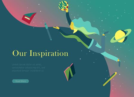 landing page templates set. Inspired People flying in space and reading online books. Characters moving and floating in dreams, imagination and freedom inspiration. Flat design, vector illustration.  イラスト・ベクター素材