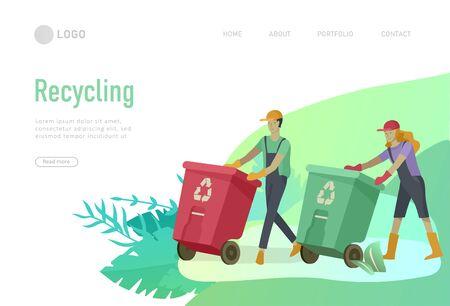 Plantilla de página de destino con personas que reciclan, clasifican la basura en diferentes contenedores para separarlos y reducir la contaminación ambiental. Familia con niños recolecta basura. Ilustración de dibujos animados de vector de día de la tierra