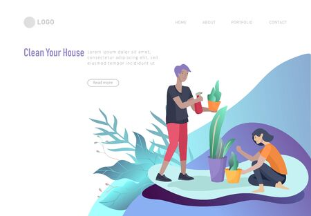 landing page template people home cleaning and gardening, man and woman water flower. Vector illustration cartoon style
