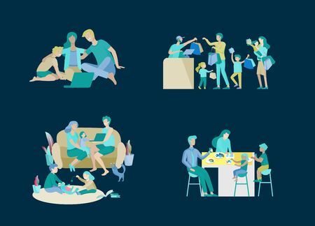 Collection of family hobby activities. Mother, father and children shopping, relaxing at home, watching a movie on laptop, having dinner together. Cartoon vector illustration