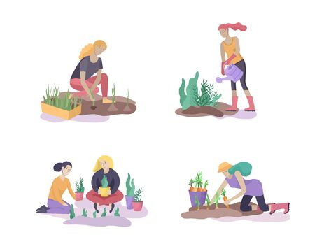 Harvesting and gardening people doing farming and garden job, pick berries, remove weeds, watering, planting, growing and transplant sprouts, lay ripe vegetables to box. Reaping crop concept Banque d'images - 128149609