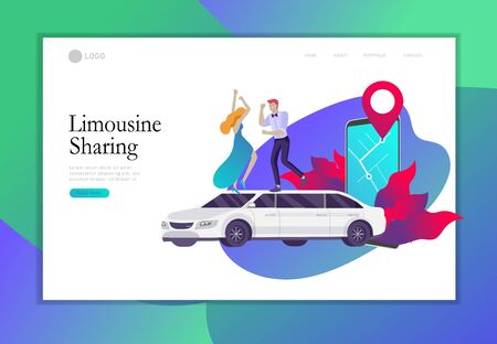 Landing page template mobile city transportation, online limousine sharing with woman in elegant evening dress and man beside luxury limousine and smartphone. Vector flat style illustration