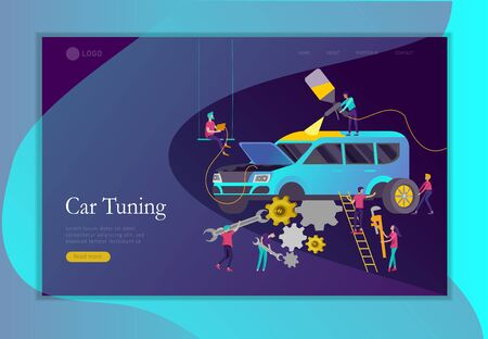 Landing page template car service having their repaired, people paint car, change wheels, automobile repair shop, vehicle service concept. Vector flat style illustration  イラスト・ベクター素材