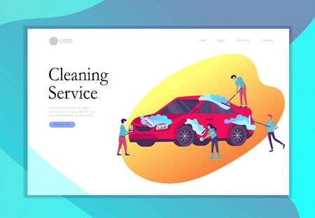 Landing page template people cartoon characters cleaning vehicle with special equipment. Car wash service, automatic carwash concept. Vector flat style illustration