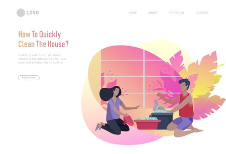 landing page template people home cleaning, home cleaning, washing dishes, wipe dust, water flower. Vector illustration cartoon style Illustration