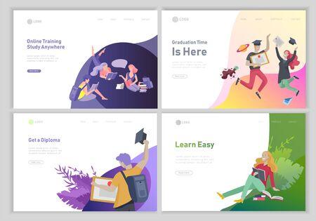 Set von Webseiten-Design-Vorlagen mit entspannten Lernenden im Freien und Absolventen für Online-Ausbildung, -Training und -Kurse. Moderne Vektorillustrationskonzepte für Website